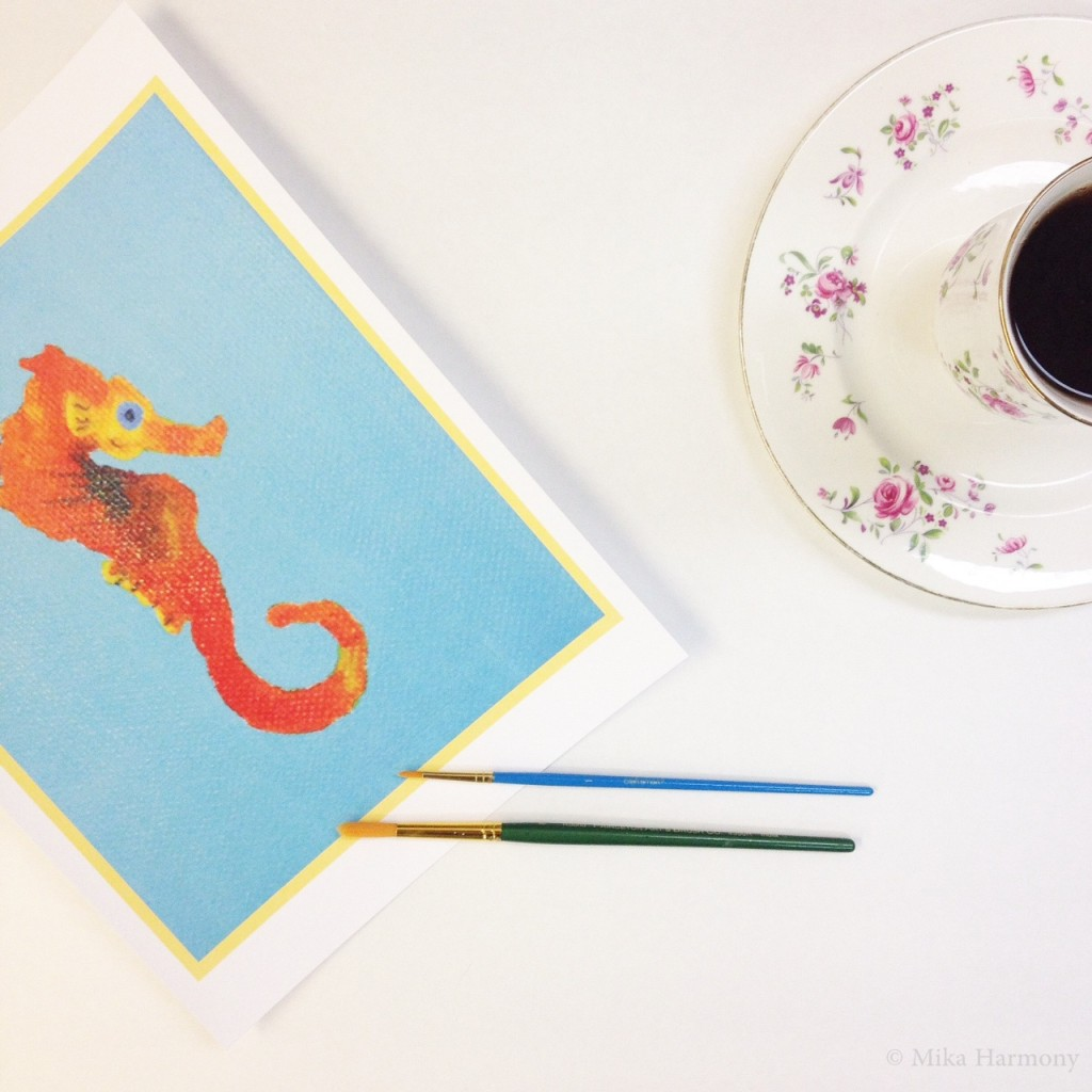 Seahorse Painting In orange and Blue Ocean Art Print_By Mika Harmony