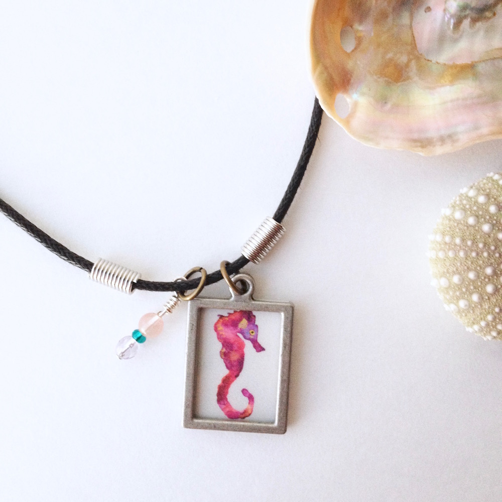 surfer-girl-gift-under-30-watercolor-seahorse-jewelry