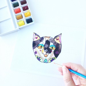 New Kitty Cat Watercolor Illustration, Miss Watson Kitty