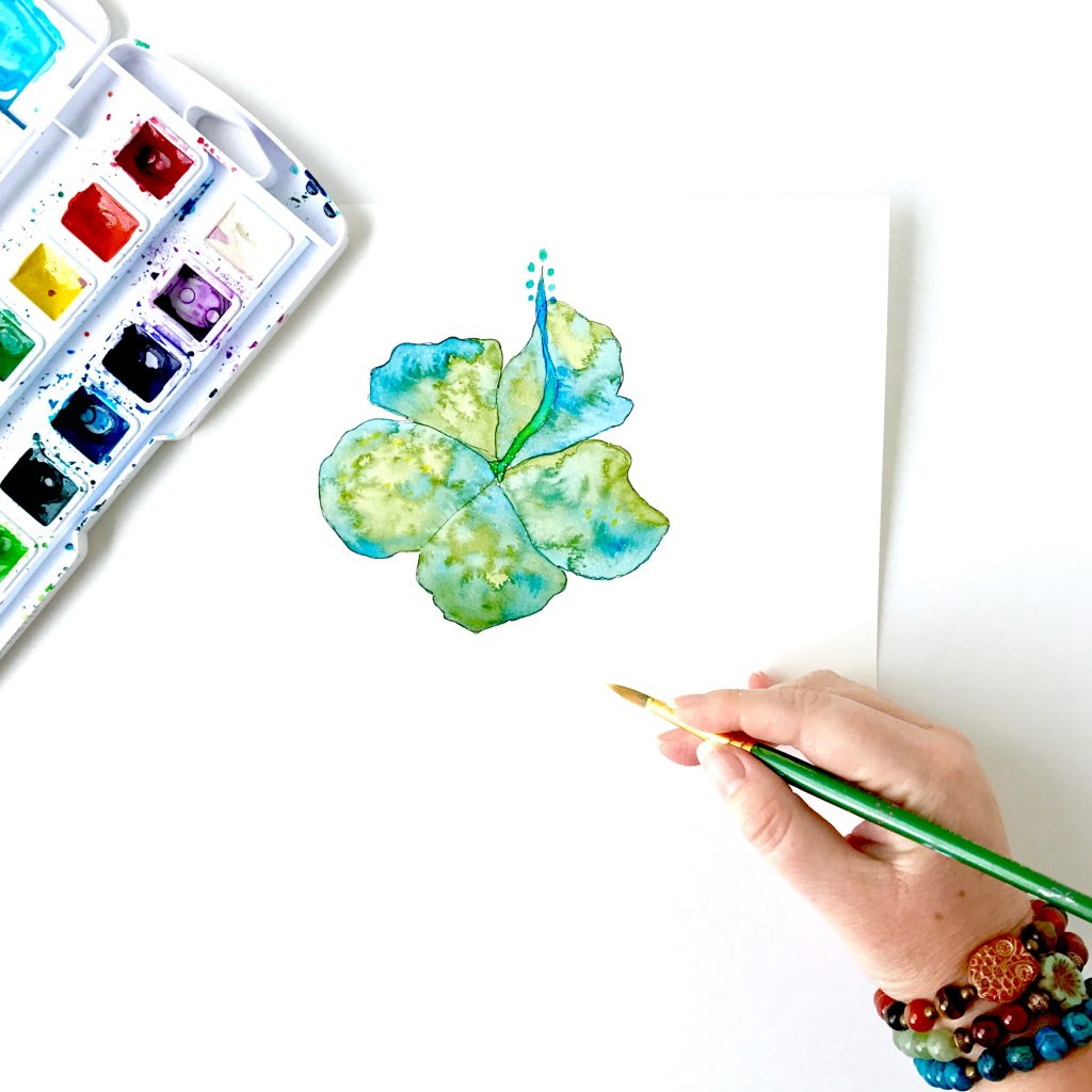 Green and Blue Hibiscus Watercolor by Mika Harmony
