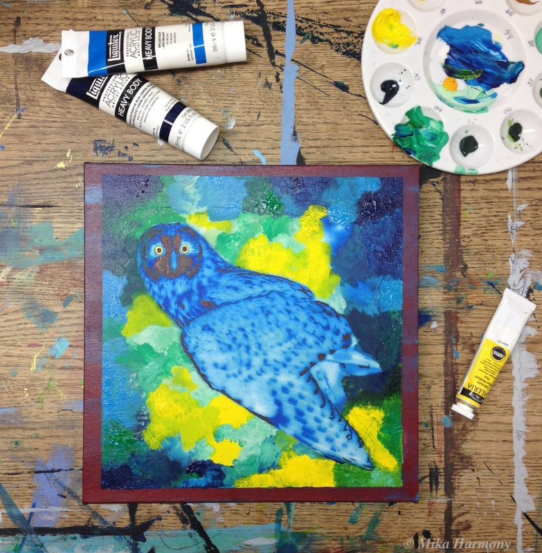 Blue Owl painting inspired by music, Mika Harmony