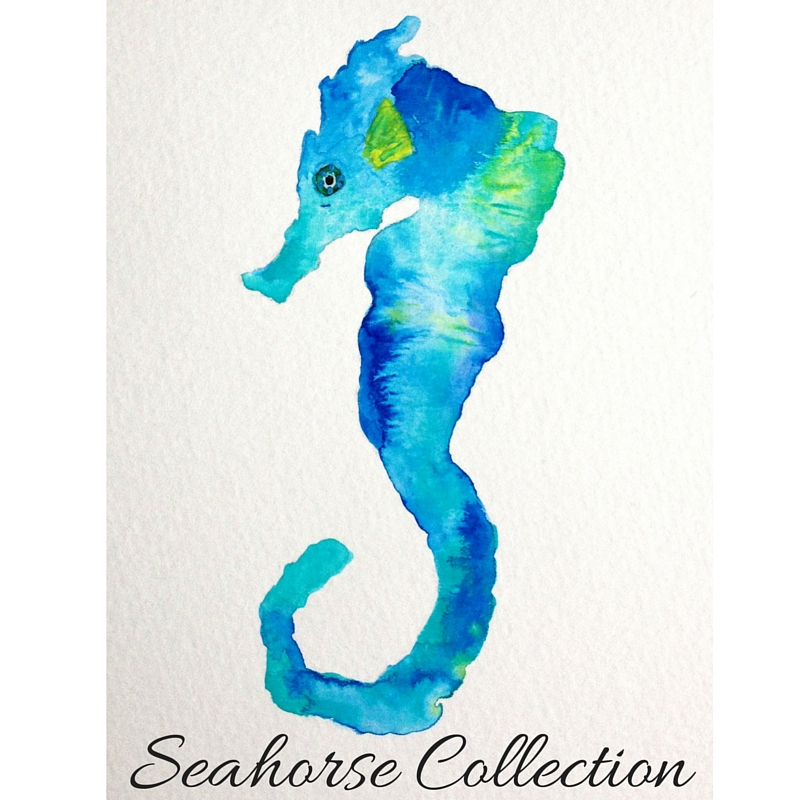 Teal Blue and green watercolor seahorse by Mika Harmony