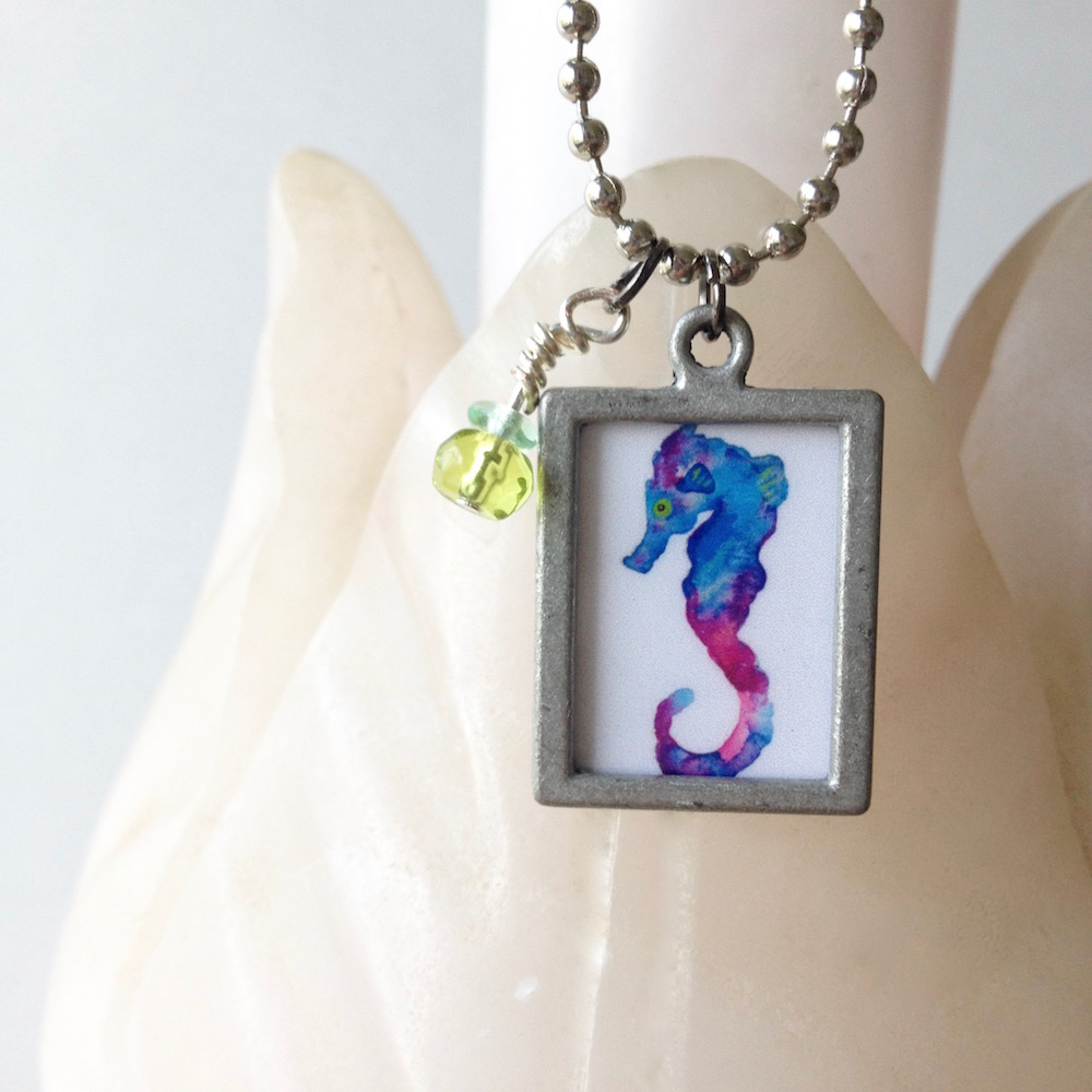 Ocean themed jewelry watercolor seahorse necklace gift under 25 by Mika Harmony