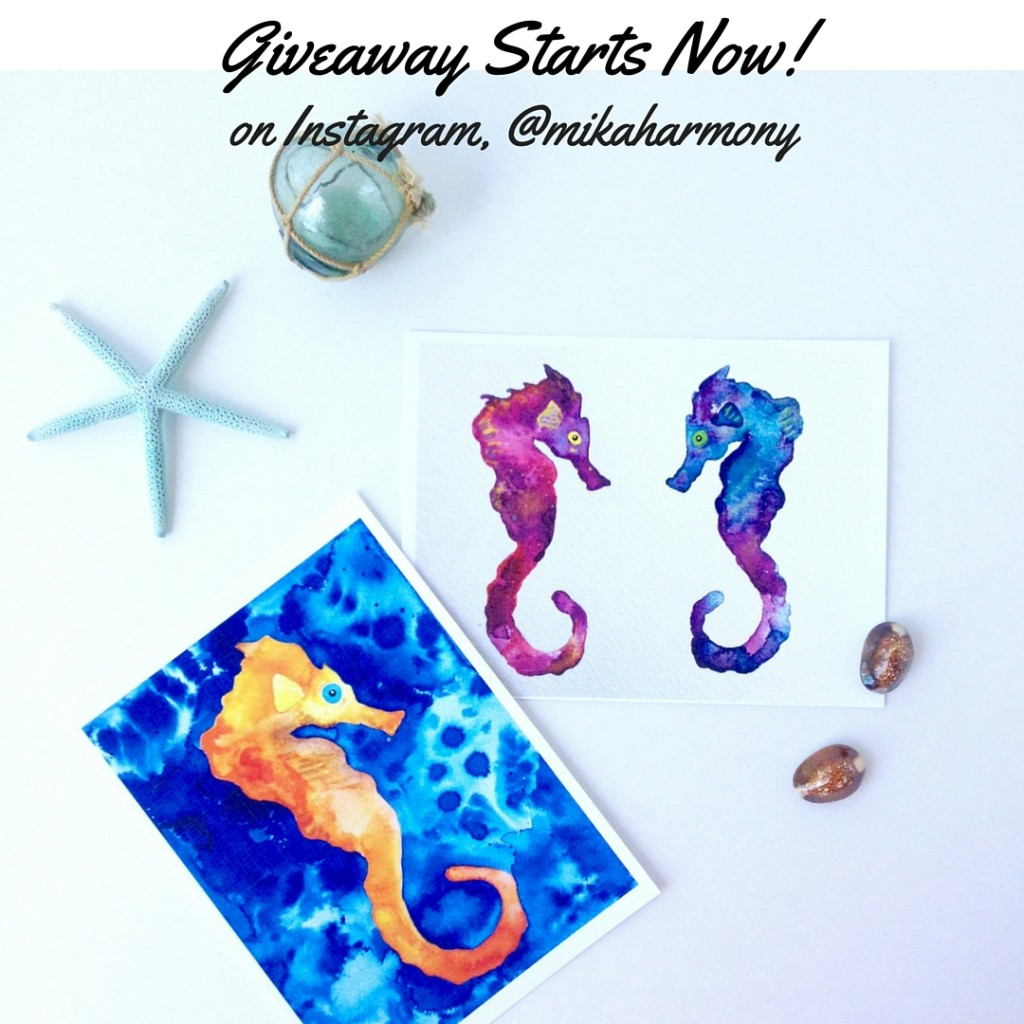 Pair of Seahorse Watercolors in Mika Harmony's Aloha Art Giveaway