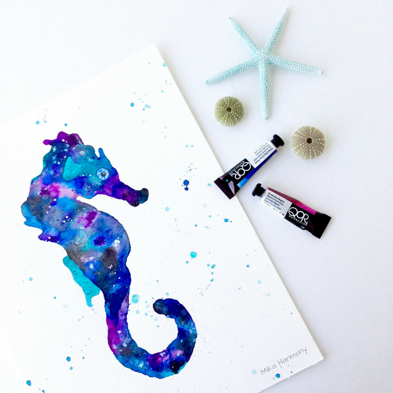 Galaxy watercolor Seahorse by Mika Harmony