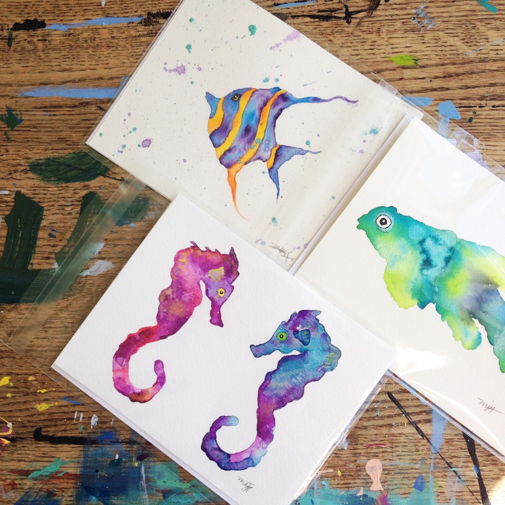 Galaxy Seahorse Couple Moorish Idol and Mandarin Fish painted in watercolor