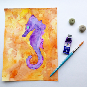 Purple and Orange Tropical Hawaiian Seahorse with healing Aloha by Mika Harmony