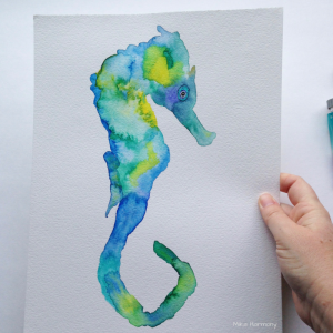 Seahorse Watercolor Collection Teal Painting by Mika Harmony