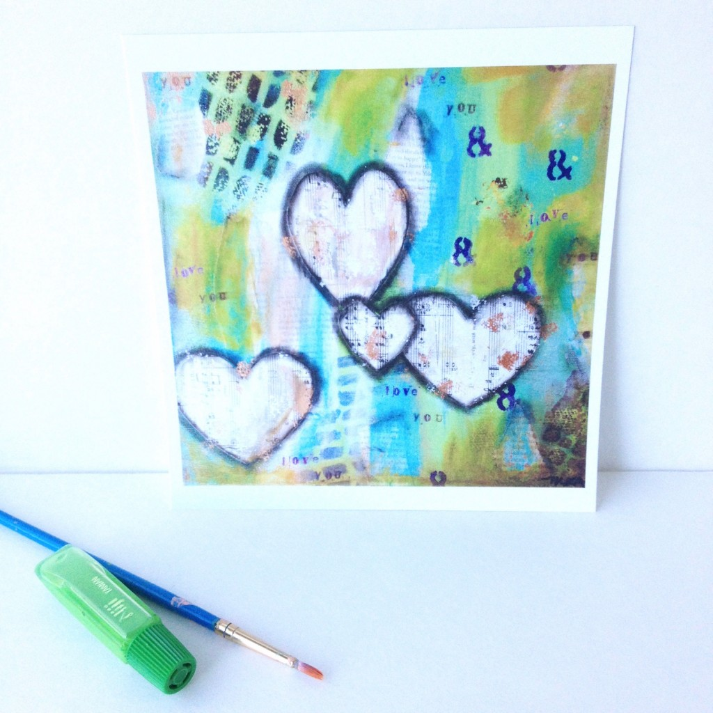 Sheet music hearts art print on a background of teals and greens by Mika Harmony