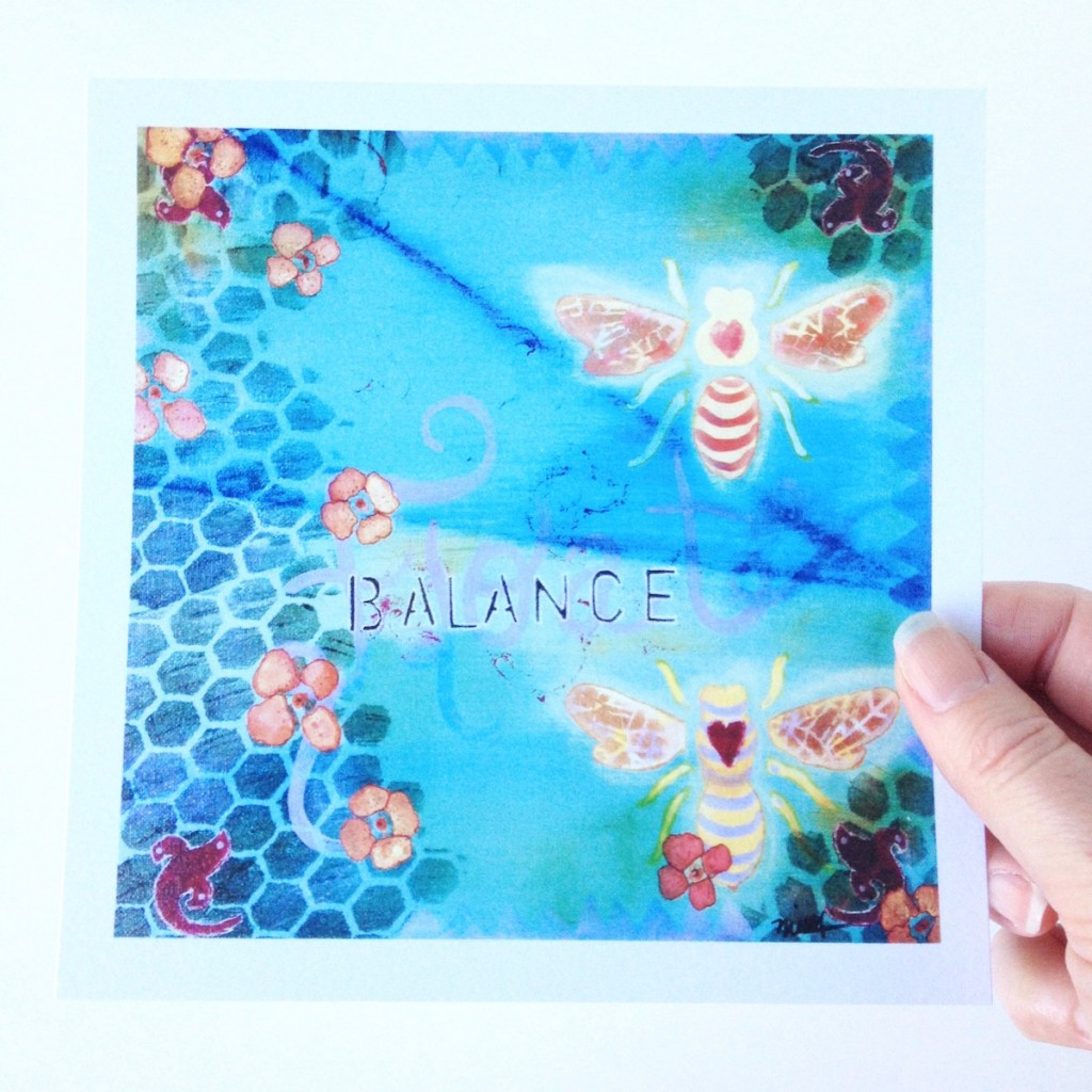 Orange and Yellow Bee pair on background of turquoise honeycomb as a 5x5 Art Print by Mika Harmony