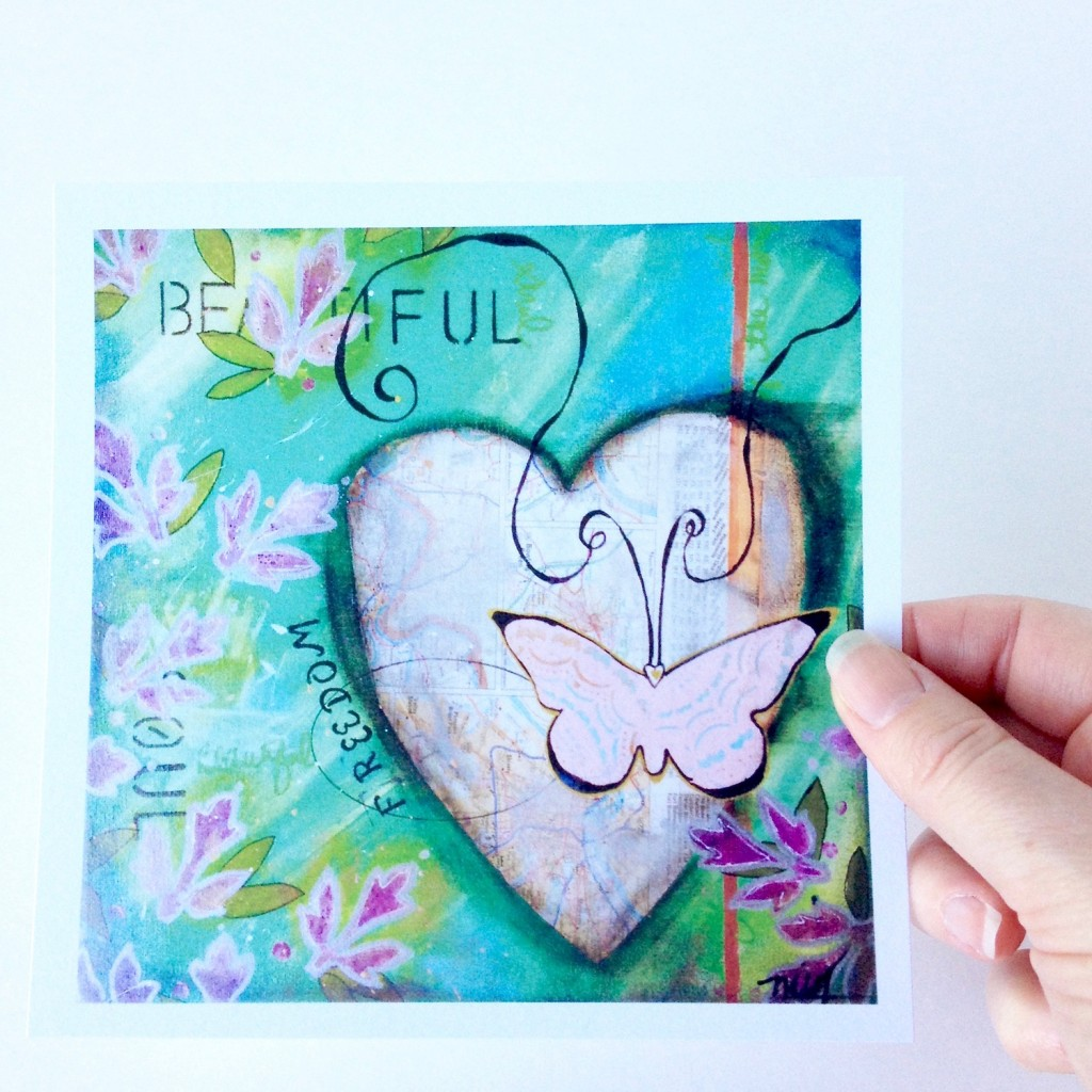 Butterfly And Road Map heart on background of teals and purple by Mika Harmony