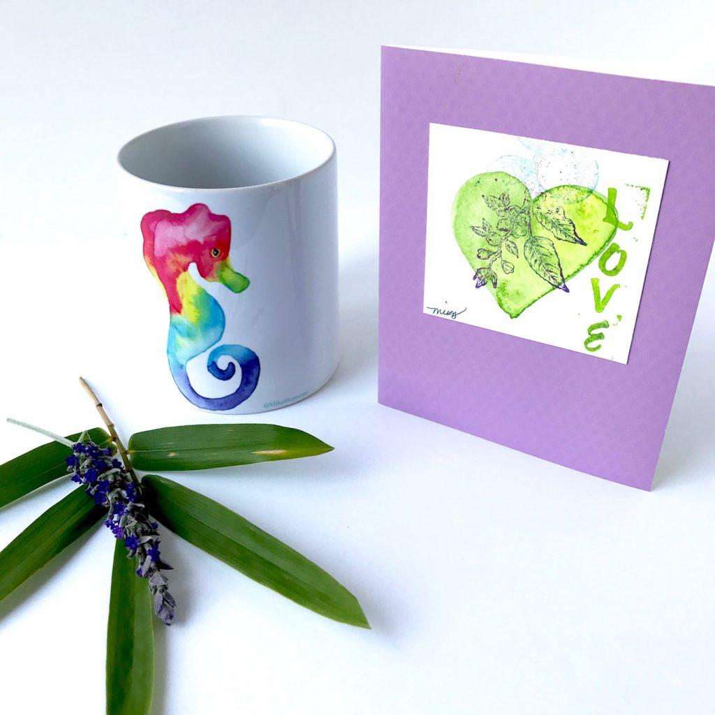 Coffee and Tea drinker gifts. Rainbow Seahorse mug