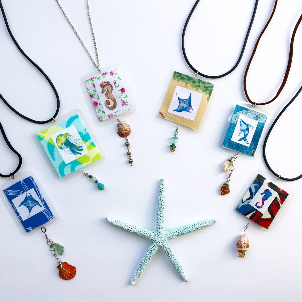 ocean inspired tropical colorful jewelry seahorse necklace sunrise shell jewelry
