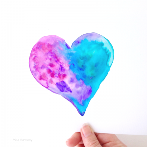 Heart watercolors