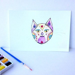 Orange Peachy White Kitty Cat Whimsical watercolor