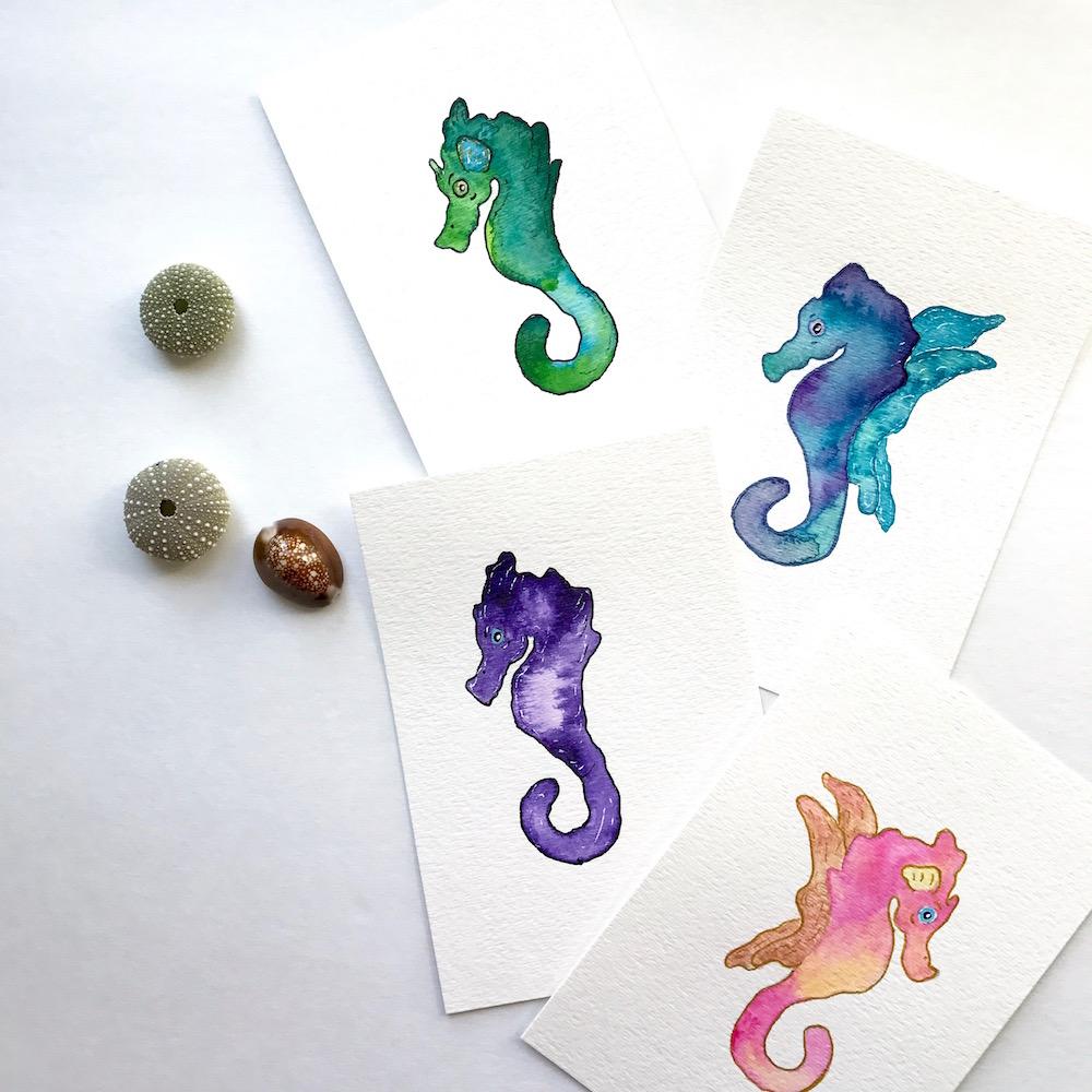 Gemstone Seahorse paintings