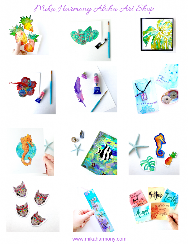 Mika Harmony Aloha Art Shop art and gifts with tropical, happy themes: seahorse, mermaids, kitties, pineapples, monstera and more