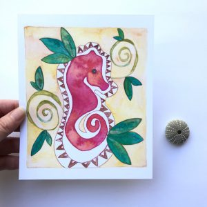Watercolor Artwork inspired by Tahiti and Hawai'i by Mika Harmony