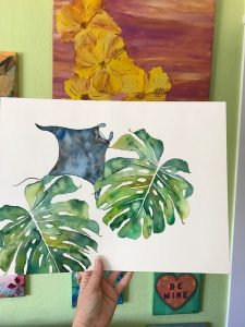 Tropical Flowers and Ocean Art Manta Ray Monstera painting