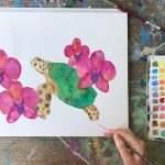 Hawaiian turtle and orchid tropical painting by Mika Harmony