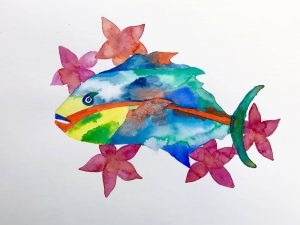Parrot fish and plumeria painting by Mika Harmony