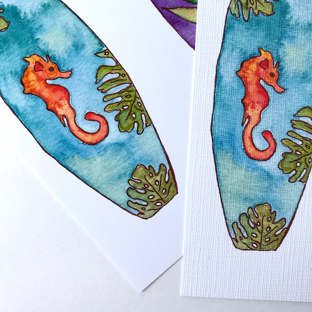 Seahorse Tropical Hawaiian Surf Art by Mika Harmony
