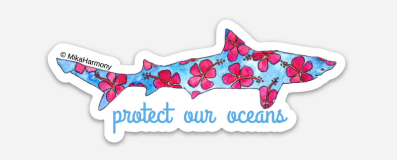 watercolor-shark-sticker-with-hibiscus-by-mika-harmony