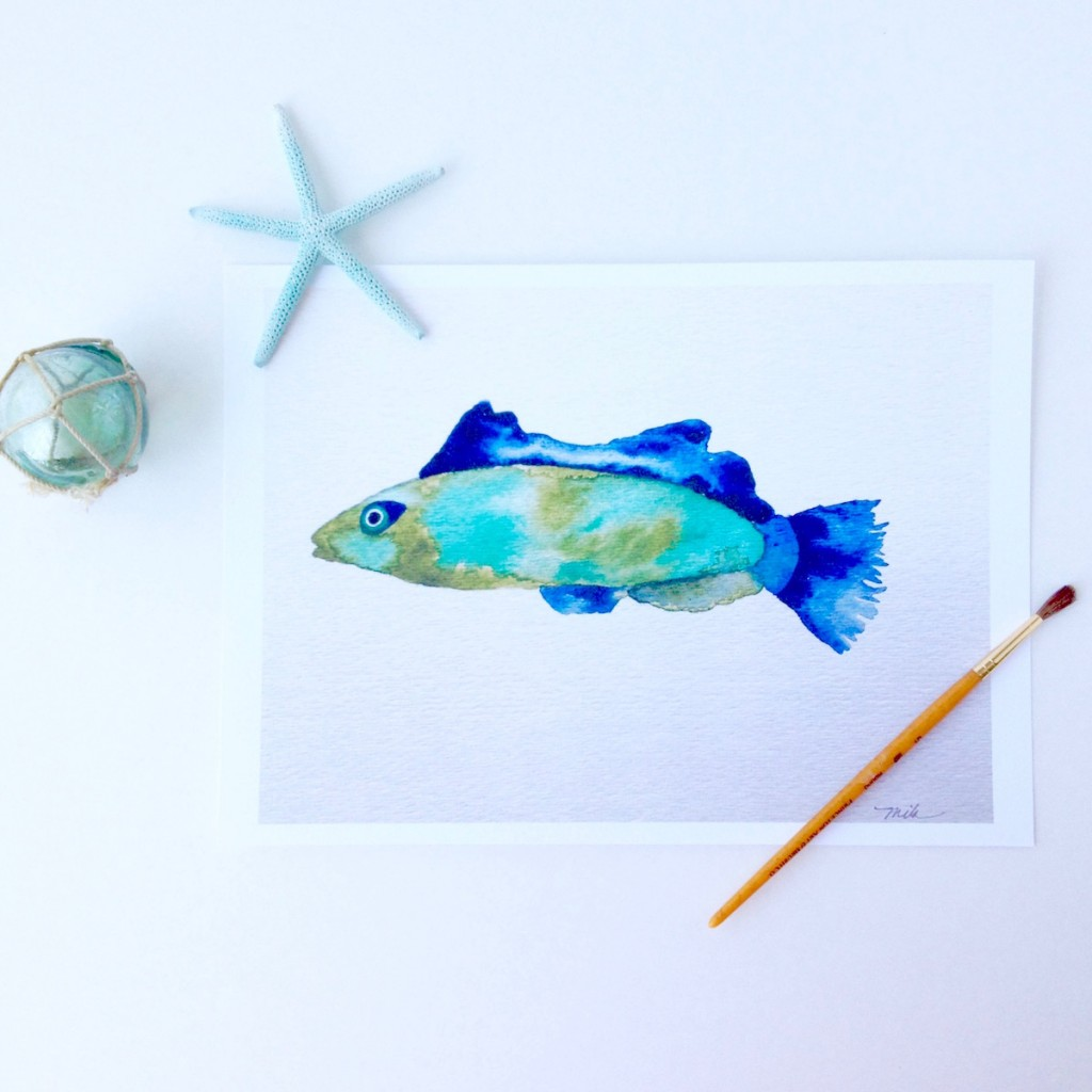 wrasse in blue and green watercolors