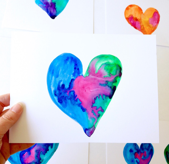 Heart watercolors full of love and aloha for you