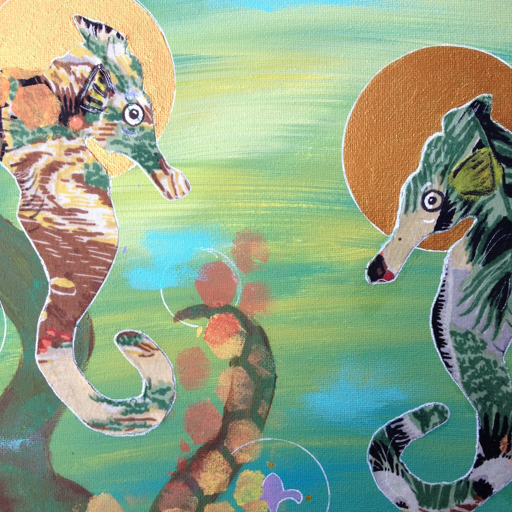 Ocean Deities Seahorse Painting_detail_by Mika Harmony