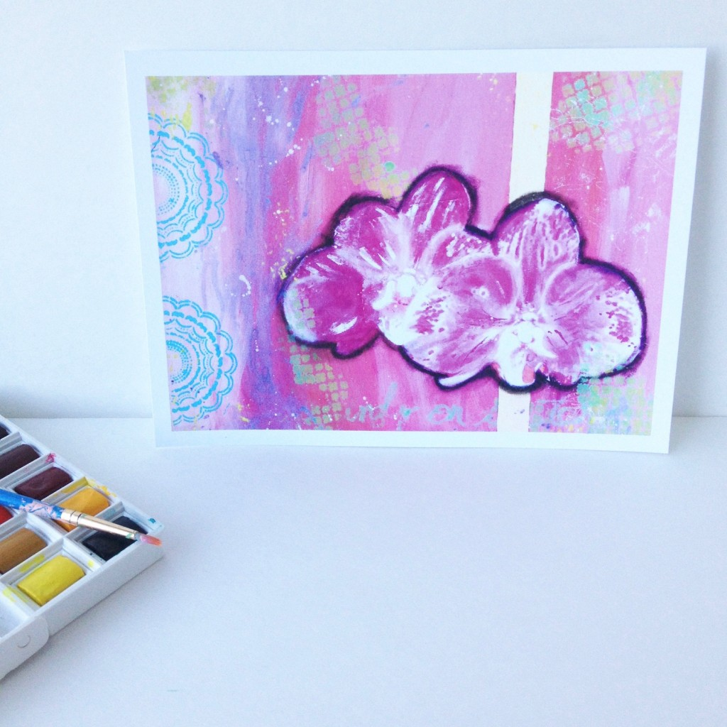 Hawaiian Orchid Print in purples and pinks