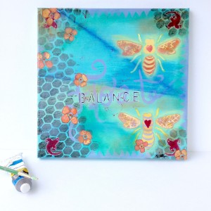 Lucky in Love bees mixed media painting on canvas in blues, greens and yellows by artist Mika Harmony