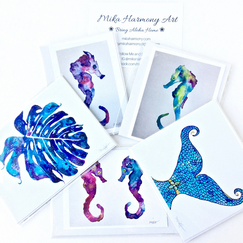bright-colorful-hawaii-seahorse-mermaid-watercolors-by-maui-artist-mika-harmony