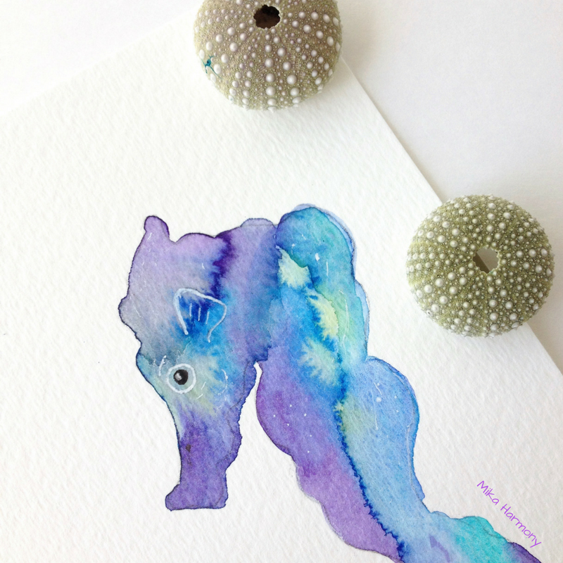 Playing in paint-Seahorse watercolor by Maui artist Mika Harmony