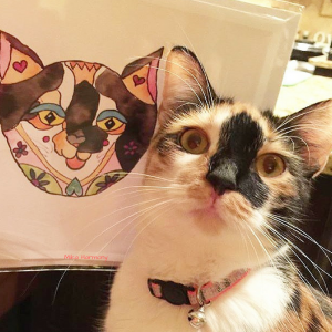 calico-kitty-painting-of-miss-watson-by-mika-harmony