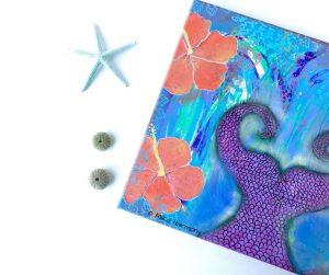 maui-mermaid-mixed-media-painting-by-artist-mika-harmony for Ventura art reception Healthy Happy Hour on 9/15/17