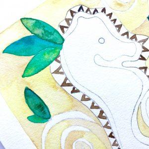 Seahorse artwork inspired by Tahiti and the Islands of Hawai'i