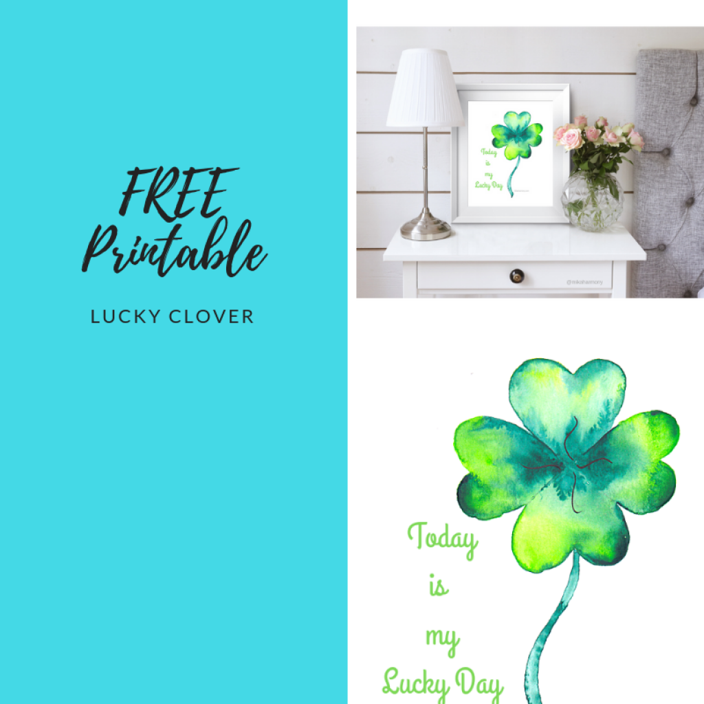 Lucky Clover positive affirmation printable from Mika Harmony