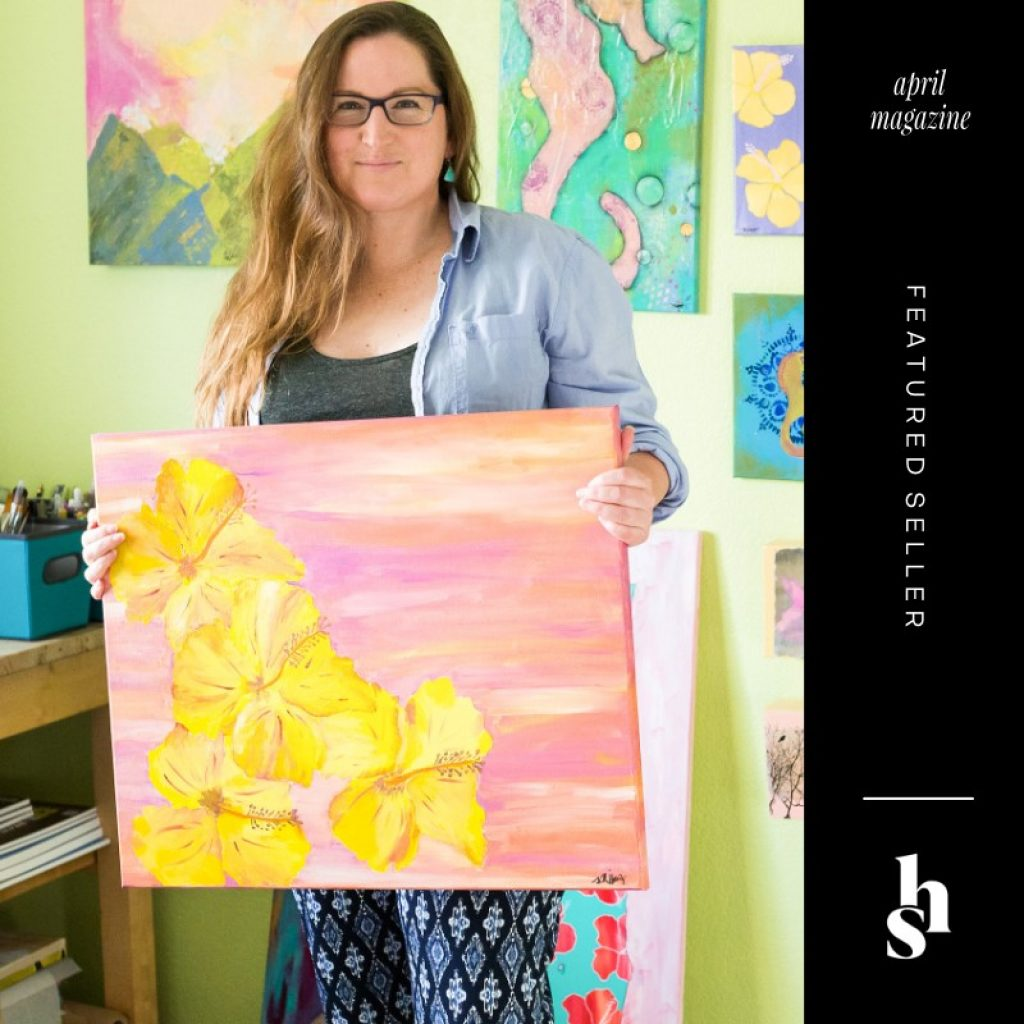 Mika Harmony featured artist in Handmade Seller magazine talking about art, life and the Ventura County Thomas Fire