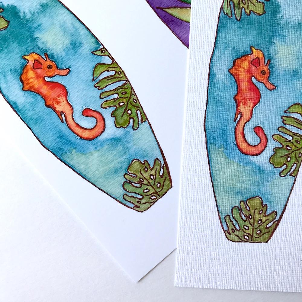Seahorse Tropical Hawaiian Surf Art by Mika Harmony