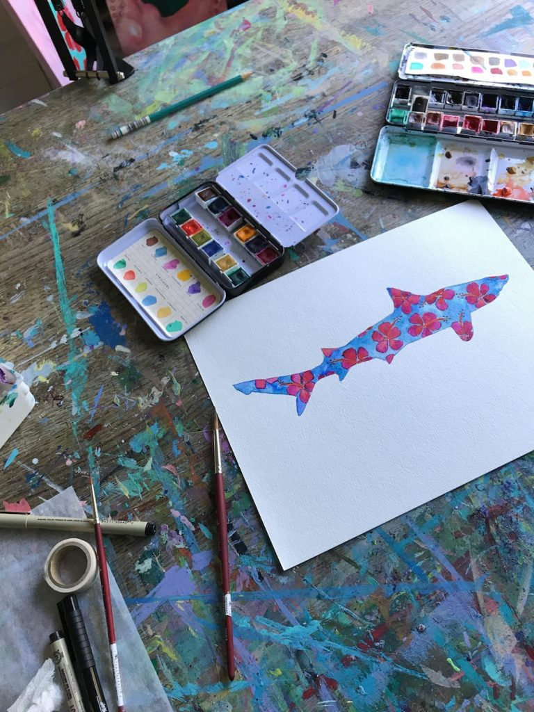 Red and Blue Hibiscus Shark