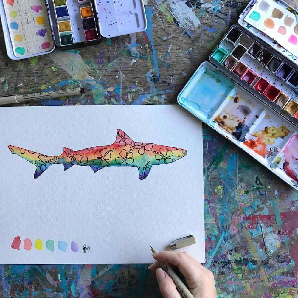Rainbow Rasta Hibiscus Shark for Shark Week in Watercolors by Mika Harmony