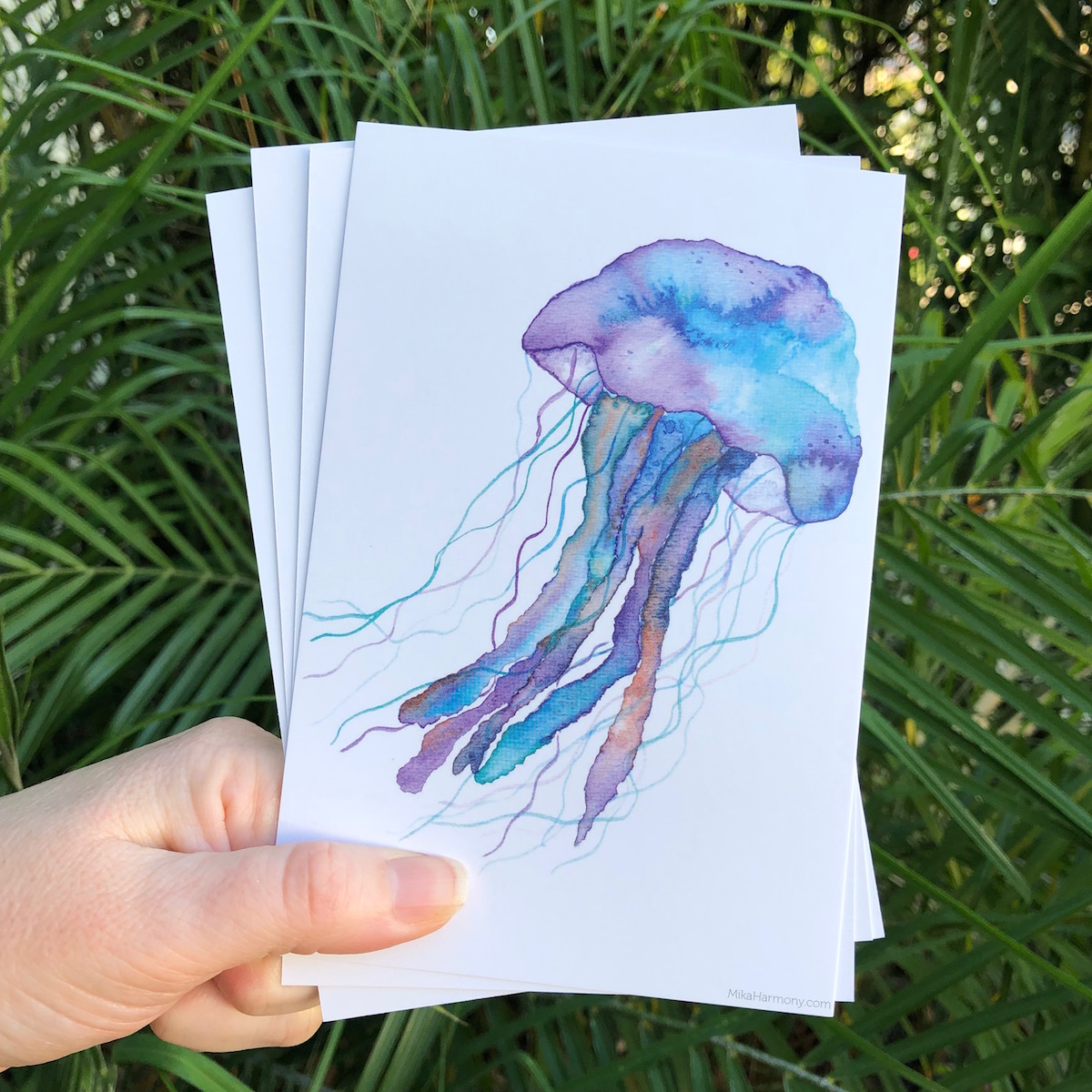 Blueberry colored jellyfish painting by mika Harmony