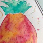 splashy colorful pineapple watercolor by Mika Harmony