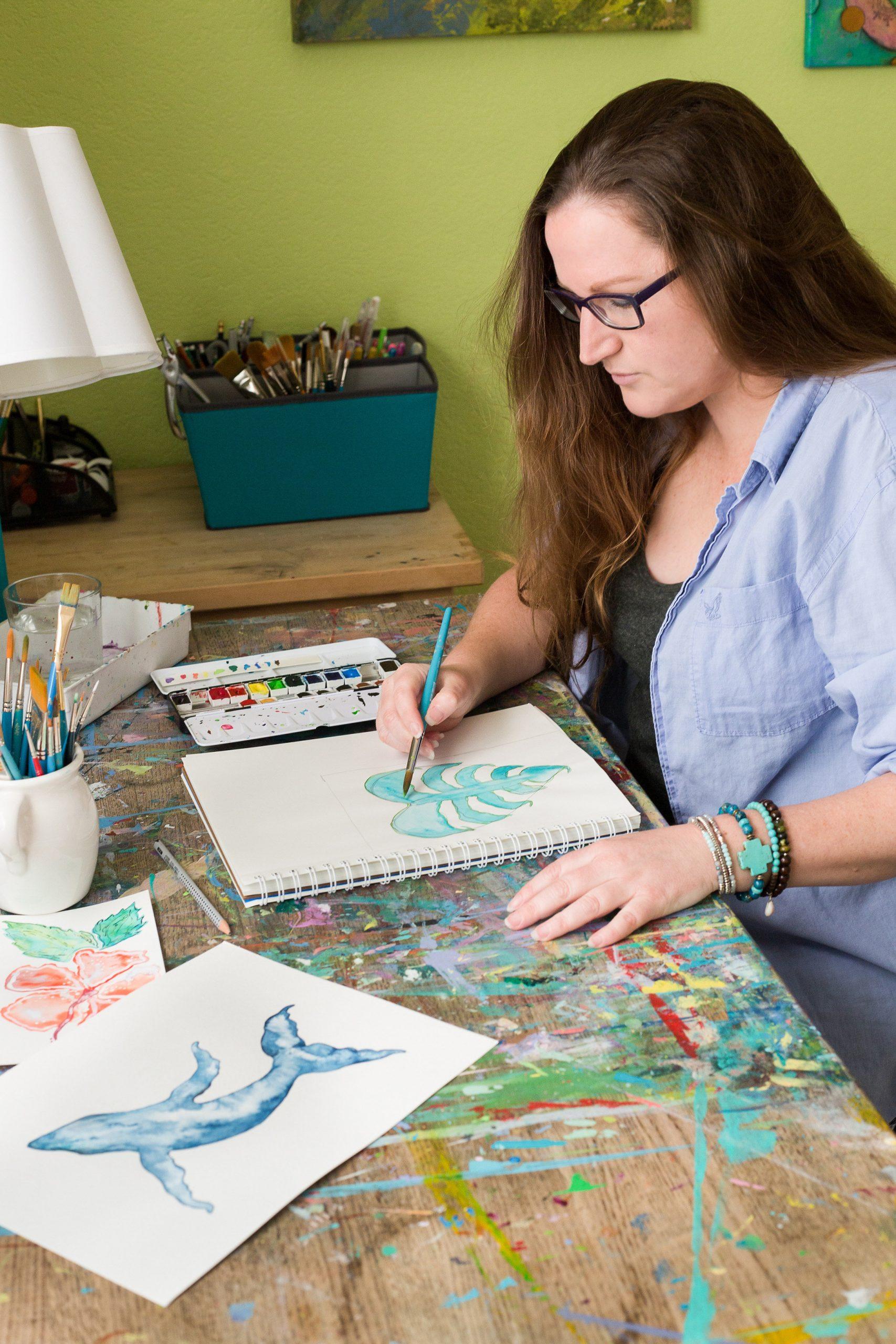 Mika Harmony painting at studio
