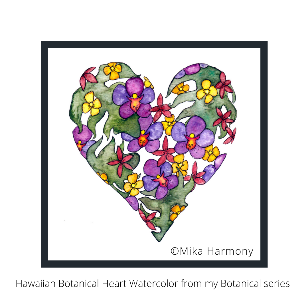 hawaiian-botanical-painting-by-mika-harmony inspired by Growing Up In Hawai'i
